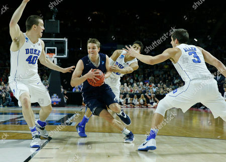 Grayson Allen, Marshall Plumlee, Makai Mason Yale's Makai Mason, center, drives between Duke's Marshall Plumlee (40) and Grayson Allen (3) during the first half in the second-round of the NCAA men's college basketball tournament in Providence, R.I