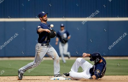 Milwaukee Brewers' Will Middlebrooks is out at second as San Diego Padres' Nick Noonan makes a late throw to first on a ball hit by Yadiel Rivera during the fifth inning of a spring training baseball game, in Phoenix