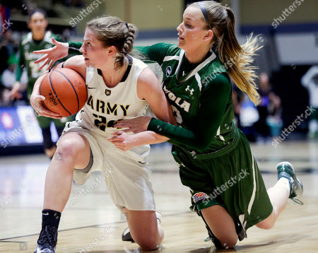 Jean Parker Army guard Jean Parker, left, and Loyola (Md.) forward Steph Smith (32) battle for a loose ball during the first half an NCAA women's college basketball game in the Patriot League tournament championship, in West Point, N.Y