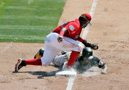 Pablo Sandoval, Jason Rogers Pittsburgh Pirates' Jason Rogers, bottom, gets back to third before a tag on a pickoff-attempt by Boston Red Sox third baseman Pablo Sandoval, top, in the sixth inning of an interleague spring training baseball game, in Fort Myers, Fla
