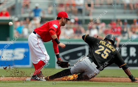 Dustin Pedroia, Gregory Polanco Boston Red Sox second baseman Dustin Pedroia is unable to handle the throw as Pittsburgh Pirates' Gregory Polanco (25) steals second with Jason Rogers at bat in the first inning of an interleague spring training baseball game, in Fort Myers, Fla