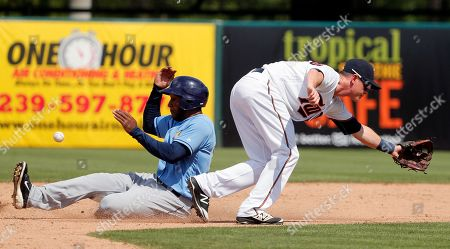 Bralin Jackson, James Beresford Minnesota Twins' James Beresford is unable to reach a throw to the bag as Tampa Bay Rays' Bralin Jackson steals second in the ninth inning of a spring training baseball game, in Fort Myers, Fla