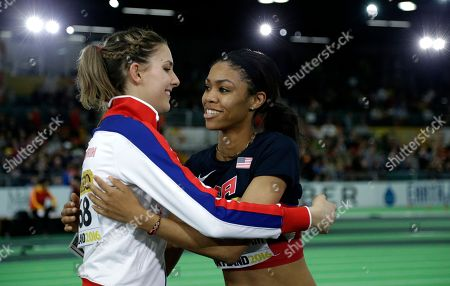 Vashti Cunningham United States' Vashti Cunningham, right, is hugged by Britain's Isobel Pooley after Cunningham won the women's high jump final during the World Indoor Athletics Championships, in Portland, Ore