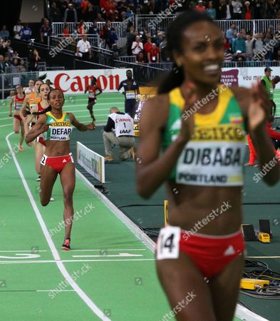 Stock Image of Benzebe Dibaba Ethiopia's Genzebe Dibaba, right, reacts after she won the women's 3000-meter run final ahead of second-place finisher Ethiopia's Meseret Defar, left, during the World Indoor Athletics Championships, in Portland, Ore