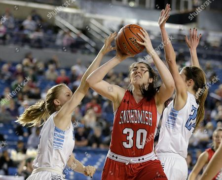 Madeline Smith Snohomish's Madeline Smith (30) shoots between Central Valley's Hailey Christopher, left, and Lacie Hull during the first half of the girls' Class 4A high school basketball championship, in Tacoma, Wash