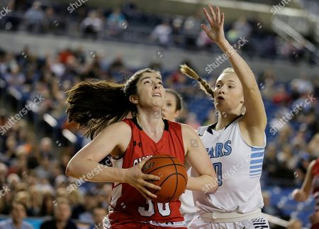 Madeline Smith Snohomish's Madeline Smith, left, tries to shoot against Central Valley's Mady Simmelink during the first half of the state girls' 4A high school basketball championship, in Tacoma, Wash