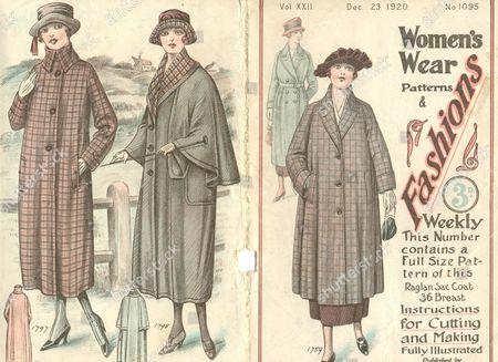 Women's Wear Pattern for Raglan Sac Coat 1920. Published by The John Williamson Co Ltd. 42 Gerrard Street, London W1.
