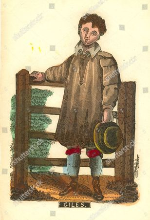 "Handcoloured woodcut of farm boy titled ""Giles"" circa 1840 with initials WC"