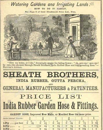 Stockabbildung von India Rubber Garden Hose price list circa 1860. Sheath Brothers, London, India Rubber and Gutta Percha. Prices list details for 1 ply, 2 ply and 3 ply hose
