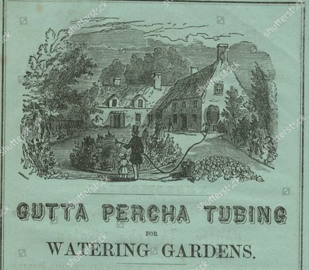 Gutta percha tubing for watering gardens circa 1850. Advertisement from The Gutta Percha Company, Patentees, 18 Wharf Road, City Road, London Printed on green paper. Artist: J Bright