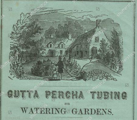 Gutta percha tubing for watering gardens circa 1850. Advertisement from The Gutta Percha Company, Patentees, 18 Wharf Road, City Road, London Printed on green paper. Artist: J Bright