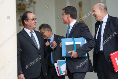 French president Francois Hollande, Jean Pierre Jouyet, Manuel Valls and Jean Marie Le Guen
