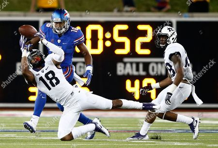 Nick Orr, Courtland Sutton, Tony James TCU safety Nick Orr (18) breaks up the pass intended for SMU wide receiver Courtland Sutton (16) as cornerback Tony James (28) watches in the second half of an NCAA college football game, in Dallas, Texas. TCU defeated SMU 33-3