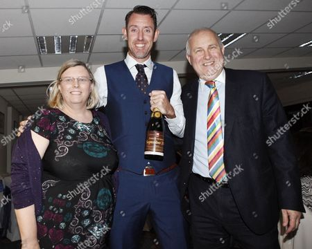David Masters receives the Devines player of the month award for September from Clive and Alison Purdy during the Essex CCC 2016 Awards Evening at the Essex County Ground on 29th September 2016