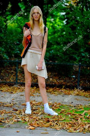 Stock Photo of Model Jess PW after ,Chloe on Champs-Élysées, Paris, PFW SS17 FW16, September 29th 2016.
