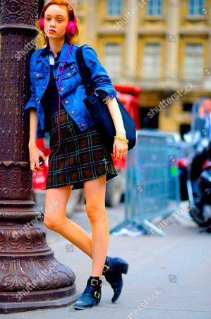 Editorial image of Street Style, Spring Summer 2017, Paris Fashion Week, France - 29 Sep 2016