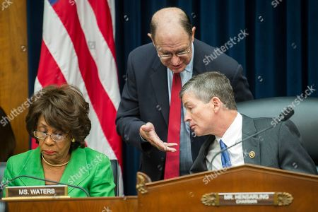 John Stumpf House Financial Services Committee Chairman Jeb Hensarling, R-Texas, right, talks with Rep. Brad Sherman, D-Calif., center, as the committee's ranking Member Maxine Waters, D-Calif. goes over notes at left, on Capitol Hill in Washington, prior to the start of the committee's hearing investigating Wells Fargo's opening of unauthorized customer accounts