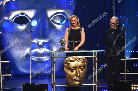 Stock Picture of Sian Grigg collects the Sian Phillips Award from Sian Phillips