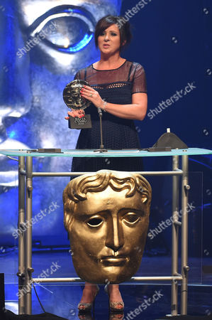 Stock Picture of Mali Harries collects Actress Award for Di Mared Rhys in Y Gwyll/Hinterland