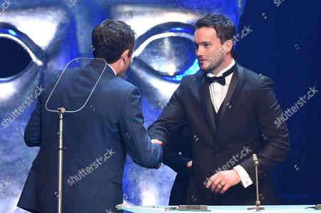 Ed Talfan collects Television Drama award from Gareth David-Lloyd for Hinterland/Y Gwyll