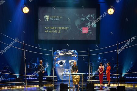 Sara Lloyd-Gregory and Catrin Stewart present Short Film Award to Clare Sturges