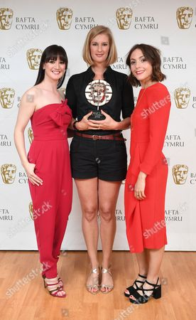 Sara Lloyd-Gregory and Catrin Stewart with Clare Sturges winner of Short Film award for My Brief Eternity: Ar Awyr Le - Brightest Films