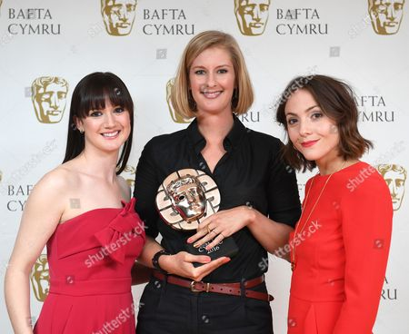 Stock Image of Sara Lloyd-Gregory and Catrin Stewart with Clare Sturges winner of Short Film award for My Brief Eternity: Ar Awyr Le - Brightest Films