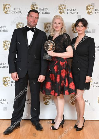 Bradley Freegard and Eve Myles with Siobhan Logue winner of Factual Series award for Music for Misfits: The Story of Indie - Telesgop