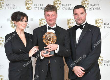 Eve Myles and Bradley Freegard with Aled Jenkins winner of Photography: Factual award for Patagonia - BBC Cymru Wales