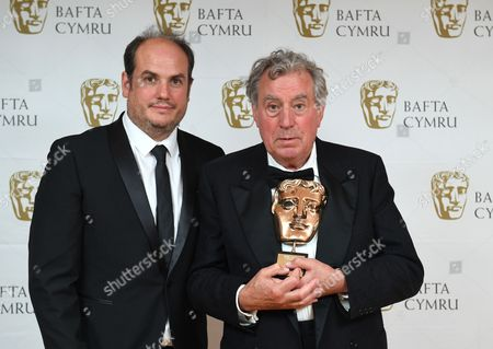 Terry Jones, winner of Outstanding Contribution To The Film And Television Award, with his son Bill Jones