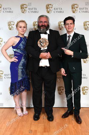 Alexa Davies and Jacob Ifan with Madoc Roberts winner of Editing Award for Tim Rhys Evans - All in the Mind - Double agent Films Ltd