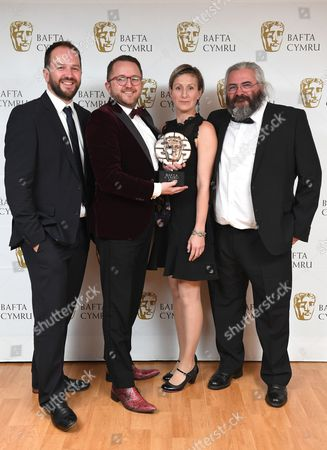 Stock Picture of Mei Williams, Tim Rhys Evans, Gwenllian Hughes and Madoc Roberts winners of Single Documentary Award for Tim Rhys Evans - All in the Mind