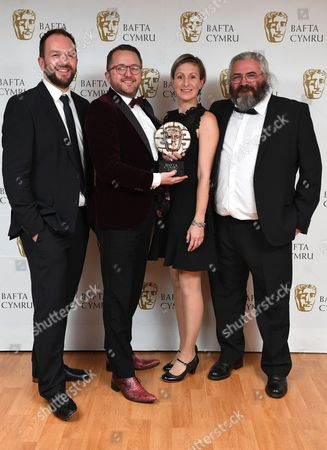 Stock Image of Mei Williams, Tim Rhys Evans, Gwenllian Hughes and Madoc Roberts winners of Single Documentary Award for Tim Rhys Evans - All in the Mind