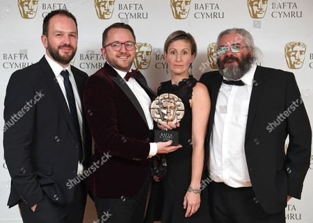 Stock Photo of Mei Williams, Tim Rhys Evans, Gwenllian Hughes and Madoc Roberts winners of Single Documentary Award for Tim Rhys Evans - All in the Mind