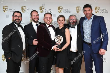 Richard Elis and Spencer Wilding with Mei Williams, Tim Rhys Evans, Gwenllian Hughes and Madoc Roberts winners of Single Documentary Award for Tim Rhys Evans - All in the Mind