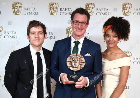 Elis James and Kizzy Crawford with Will Millard winner of Presenter award in Hunters of the South Seas - Indus