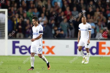Inter Milan's Citadin Martins Eder leaves the field at the end of the Europa League group K soccer match between Sparta Praha and Inter Milan in Prague, Czech Republic, . Sparta Praha won 3-1