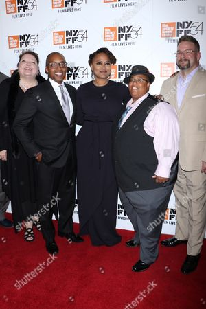 Stock Picture of Lisa Graves, Khalil Gibran Muhammad, Ava DuVernay, director, Malkia Cyril and Kevin Gannon