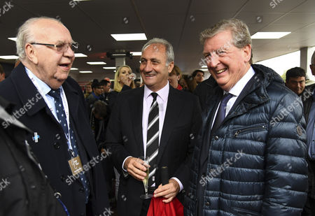 Les Strong, ex Fulham full back, and former Fulham and England manager Roy Hodgson at the unveiling of the George Cohen statue during the Sky Bet Championship match between Fulham and Queens Park Rangers played at Craven Cottage, London on 01st October 2016
