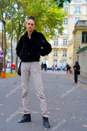 Editorial image of Street Style, Spring Summer 2017, Paris Fashion Week, France - 30 Sep 2016