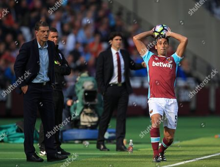 Slaven Bilic manager of West Ham United and  Alvaro Arbeloa of West Ham United  during the Premier League match between West Ham United and Middlesbrough  played at The London Stadium , London on 01st October 2016