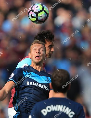 Alvaro Arbeloa of West Ham United battles with Jordan Rhodes of Middlesbrough  during the Premier League match between West Ham United and Middlesbrough  played at The London Stadium , London on 01st October 2016