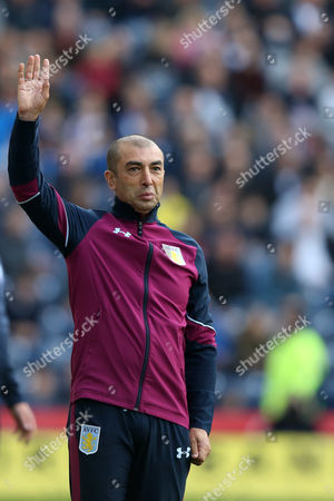 Aston Villa manager Roberto Di Matteo stands with his hand up during the SKY BET Championship match between Preston North End and Aston Villa played at Deepdale, Preston on 1st October 2016