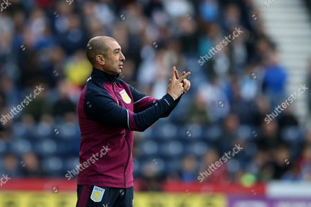 Aston Villa manager Roberto Di Matteo gestures with his hands as he instructions to his team from the dug-out during the SKY BET Championship match between Preston North End and Aston Villa played at Deepdale, Preston on 1st October 2016