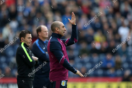 Aston Villa manager Roberto Di Matteo reacts angrily during the SKY BET Championship match between Preston North End and Aston Villa played at Deepdale, Preston on 1st October 2016