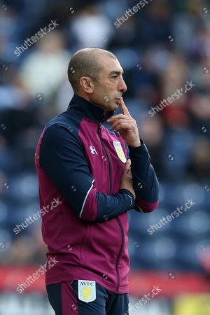 Aston Villa manager Roberto Di Matteo looks thoughtful as he puts his finger to his lips during the SKY BET Championship match between Preston North End and Aston Villa played at Deepdale, Preston on 1st October 2016