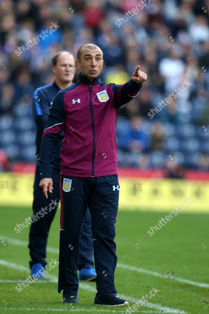 Aston Villa manager Roberto Di Matteo points during the SKY BET Championship match between Preston North End and Aston Villa played at Deepdale, Preston on 1st October 2016