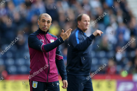 Aston Villa manager Roberto Di Matteo gestures during the SKY BET Championship match between Preston North End and Aston Villa played at Deepdale, Preston on 1st October 2016