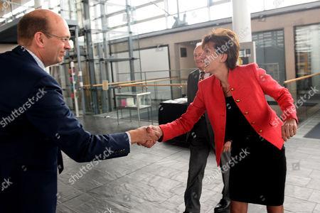 Stock Image of UKIP Leader Diane James meeting UKIP AM Mark Reckless