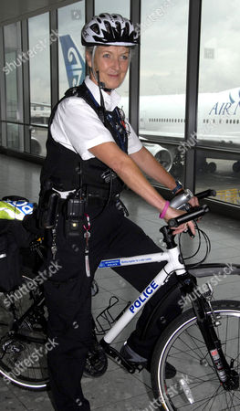 Former Pan Stewardess Annabel Davis has worked as a police officer for 13 years cycles around Heathrow Airport to help passengers and prevent crime.